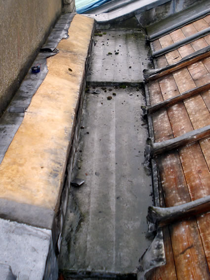 Before repairs to Grade II Listed church roof which had suffered from lead theft