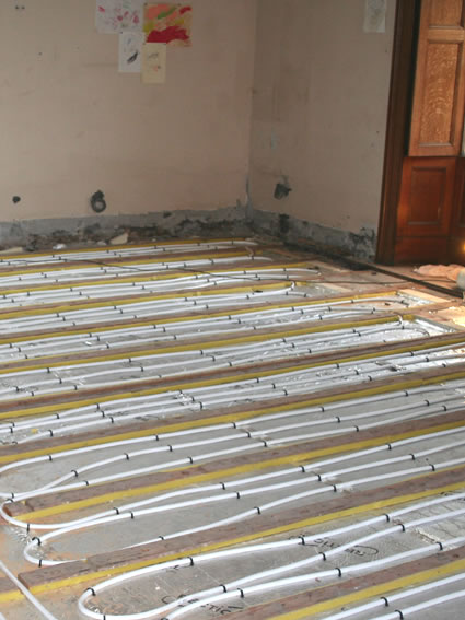 Underfloor heating to a timber suspended floor in a Grade II listed property