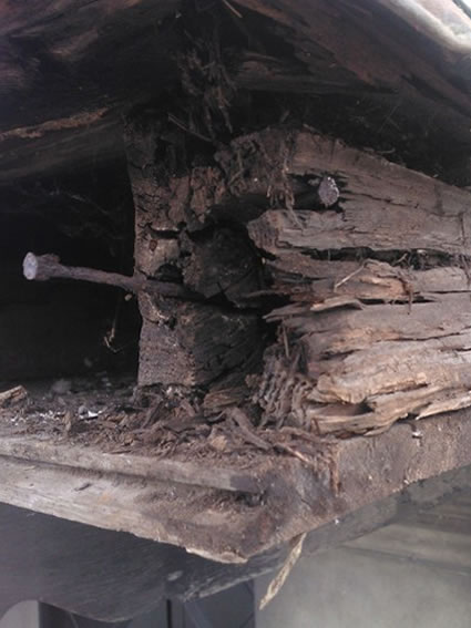 Wet rot repairs to a copper clad porch roof