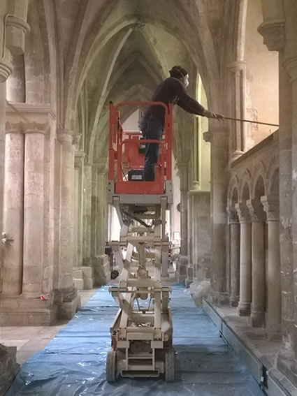 Cleaning internal stonework on a Grade I listed property